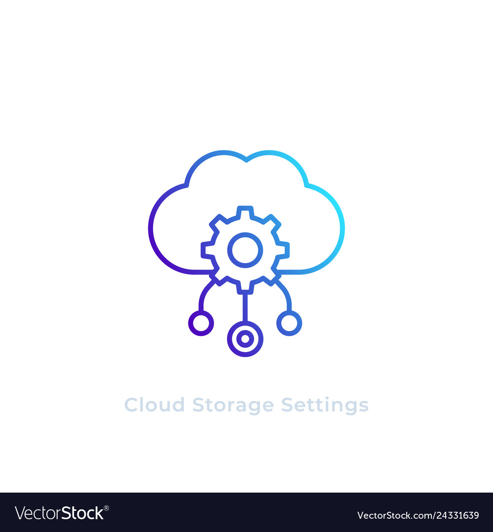Cloud storage settings line icon
