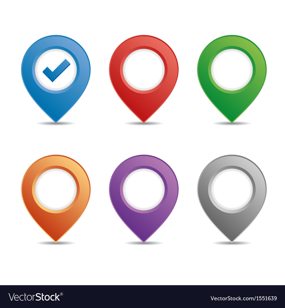 Color pin set vector image
