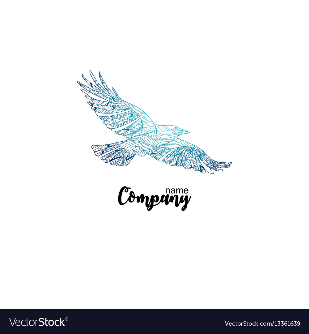 Colorful company icon of flying crow logo design