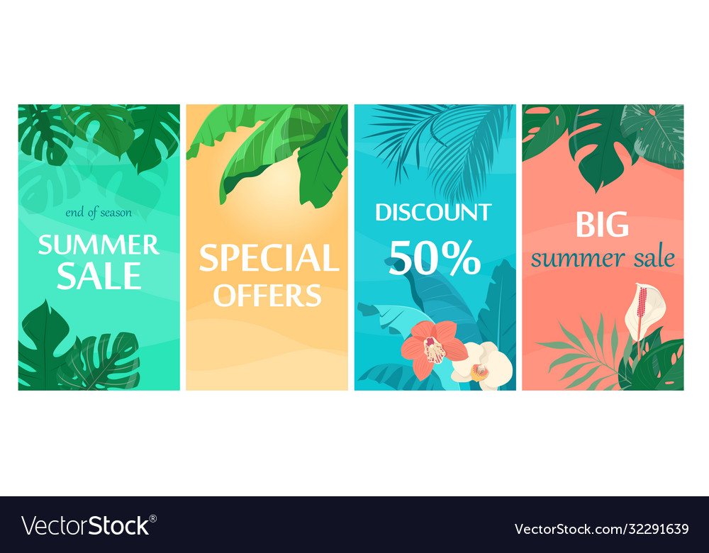 Colorful summer sale backgrounds with tropical
