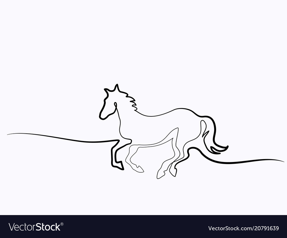 Continuous one line drawing horse logo