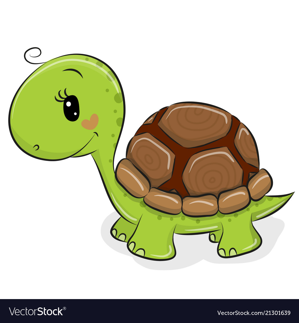 Cute cartoon turtle on a white background
