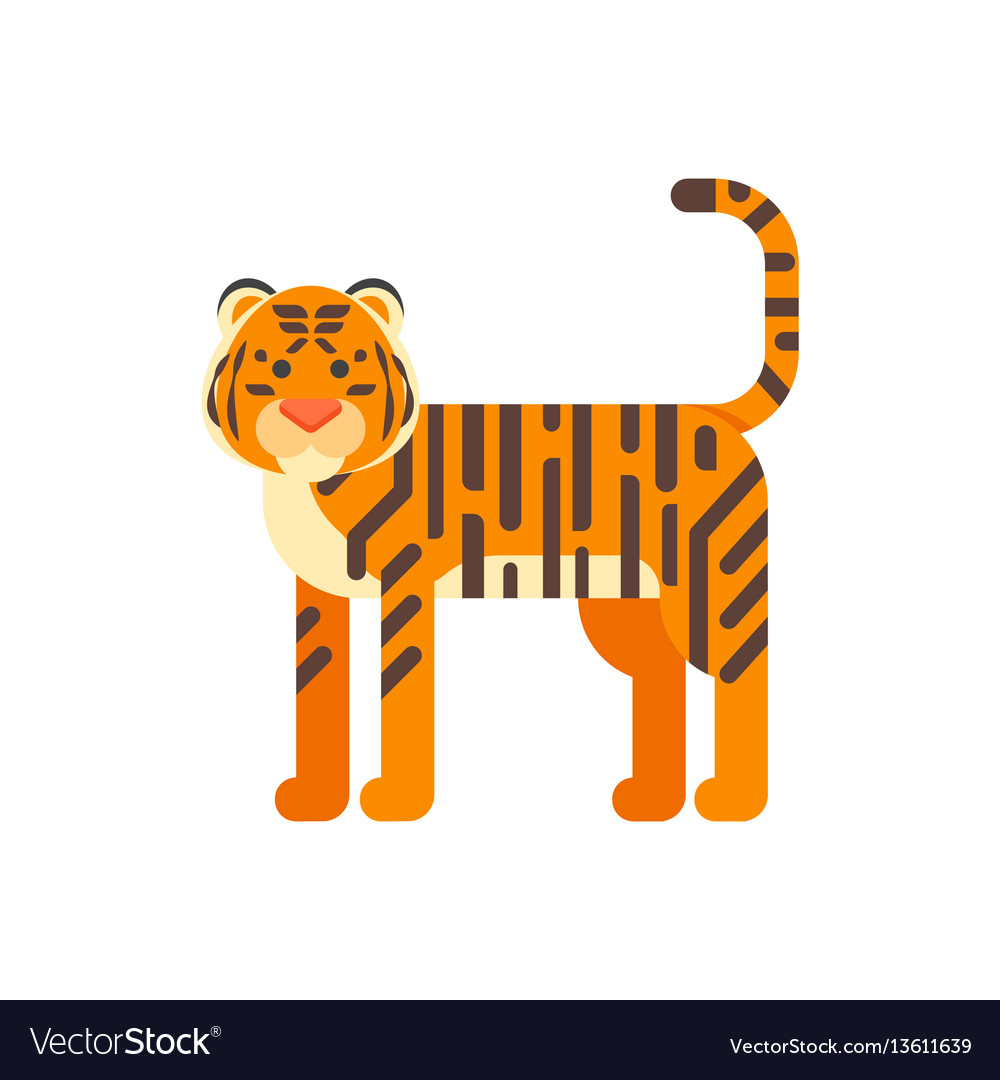 Flat style of tiger