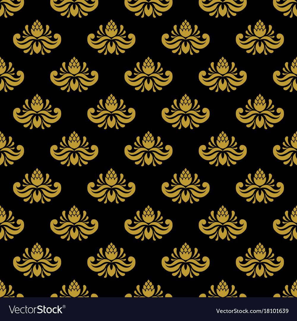 Golden vintage damask decor seamless pattern