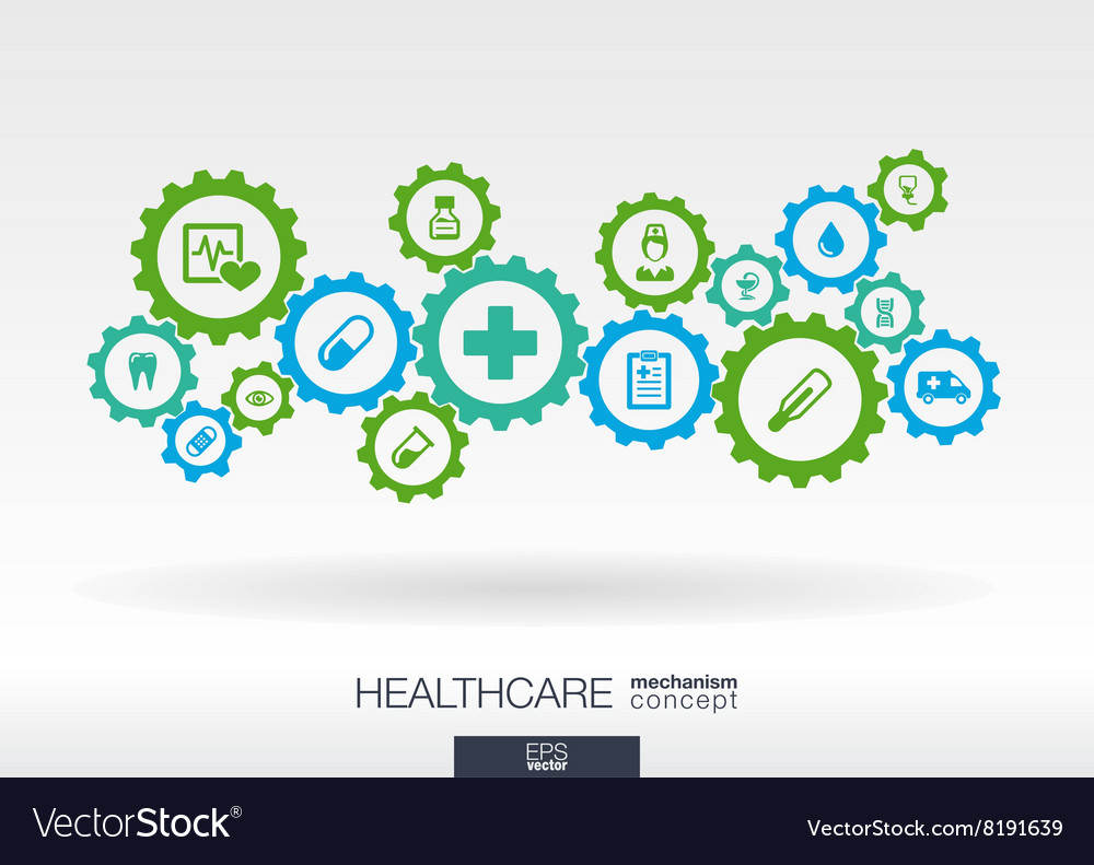 Healthcare mechanism concept Abstract background vector image