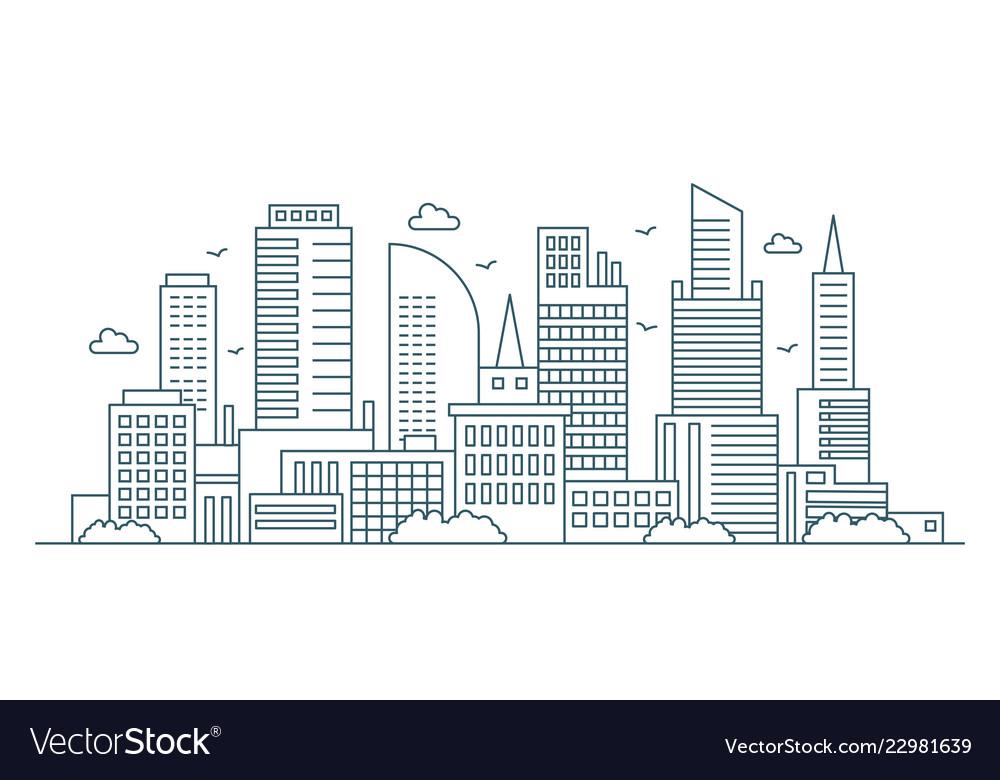 Line modern urban big city panorama outline