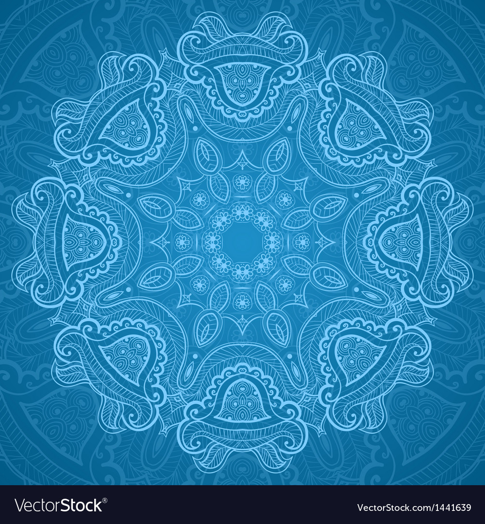 Ornamental round blue lace pattern 1