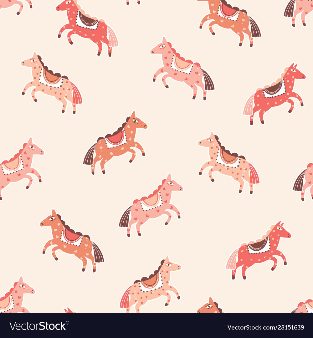 Pink horses seamless pattern cartoon pony