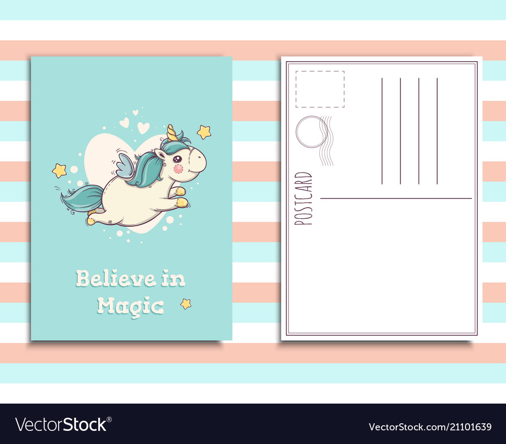 Postcard invitation template with cute unicorn