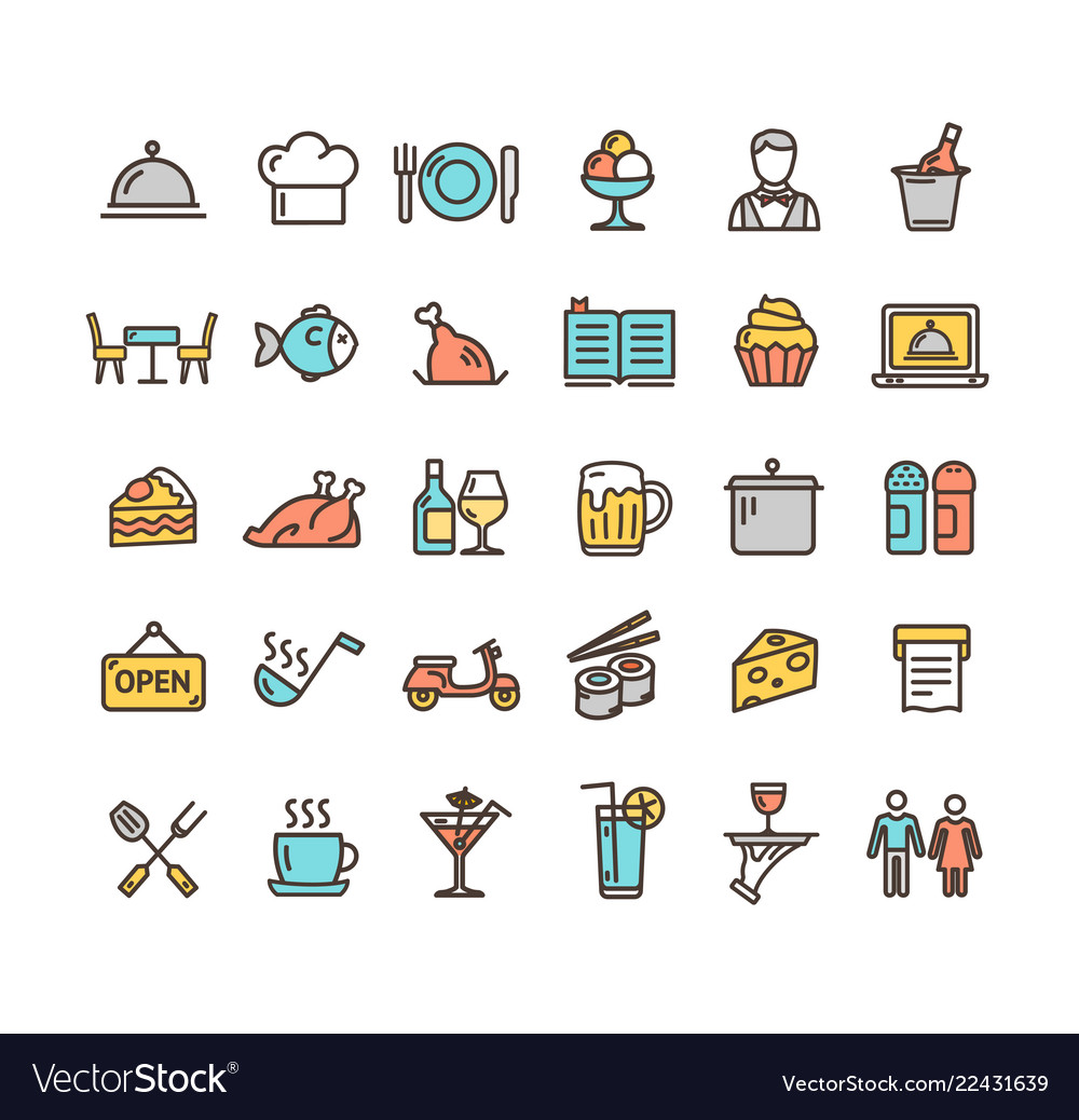 Restaurant service signs color thin line icon set