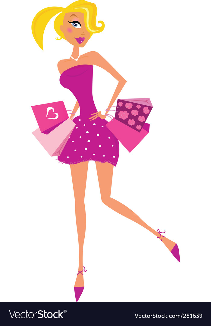 Romance shopping woman in pink vector image