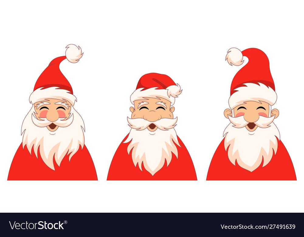 Set funny santa claus characters christmas