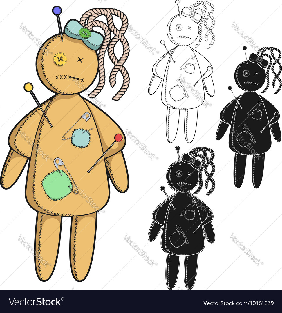 Set of images with a voodoo doll vector image