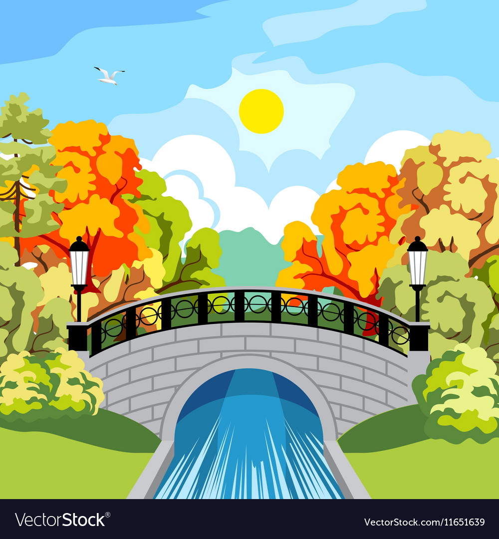 Solar autumn in the park idyllic vector image