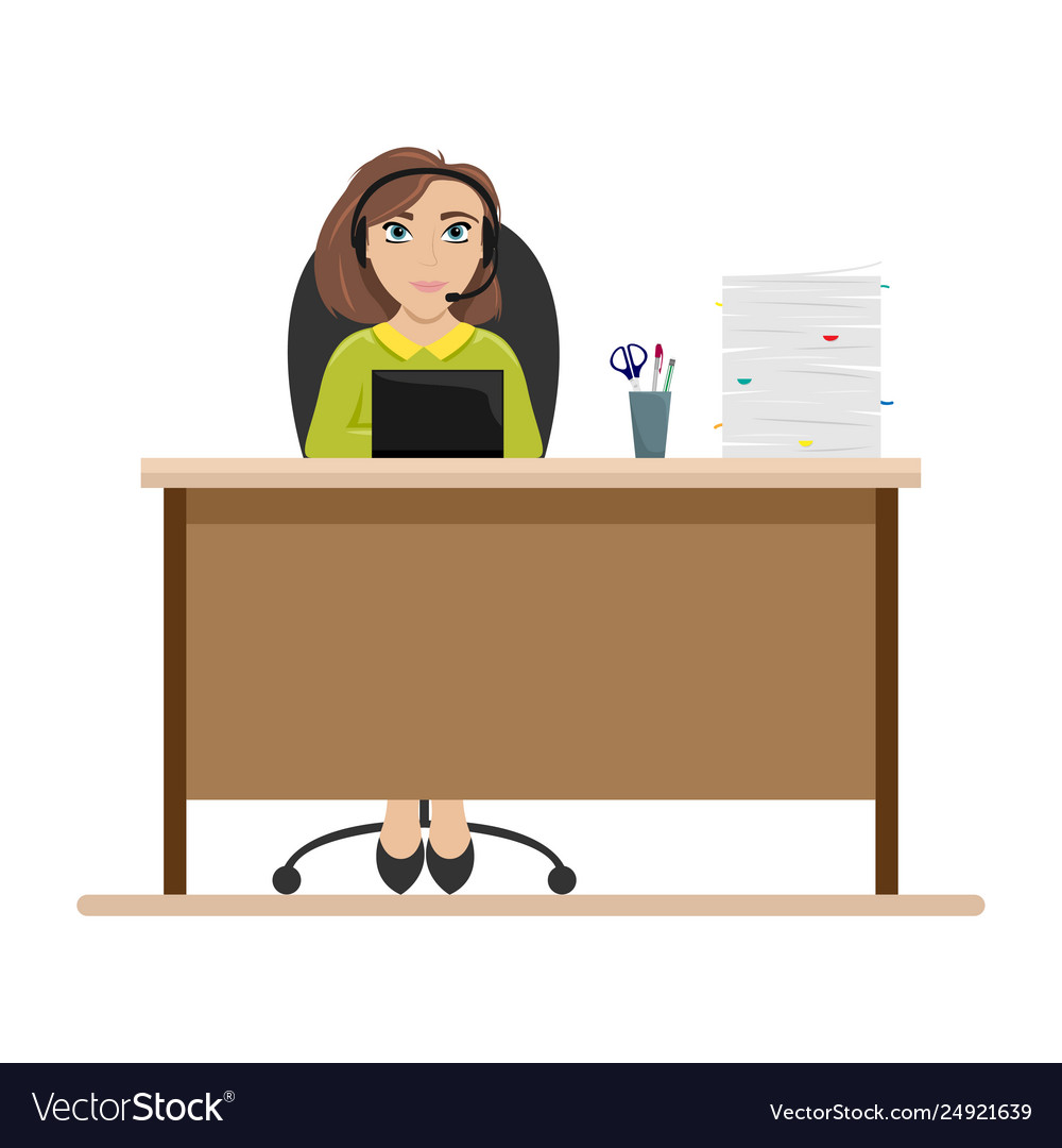 Woman at table with headphones call center