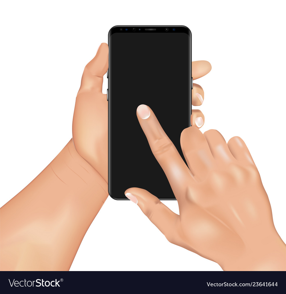 3d realistic human hand holding smartphone
