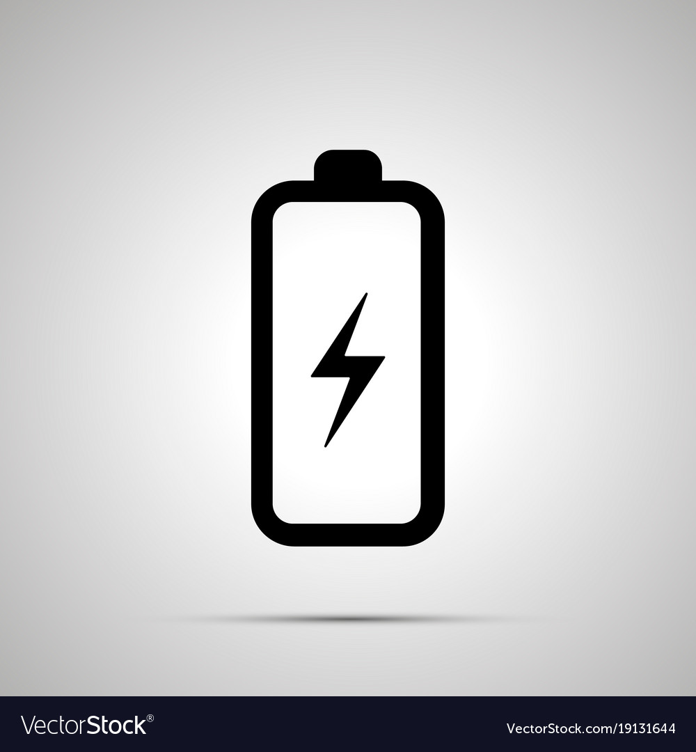 Battery with electricity symbol simple black icon Vector Image