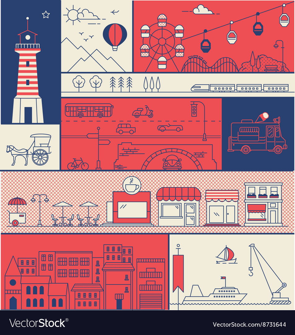 CITY IN LINE ART FLAT ICONS OUTLINE STYLE