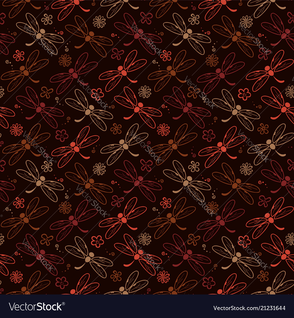 Dragonfly pattern background with brown color