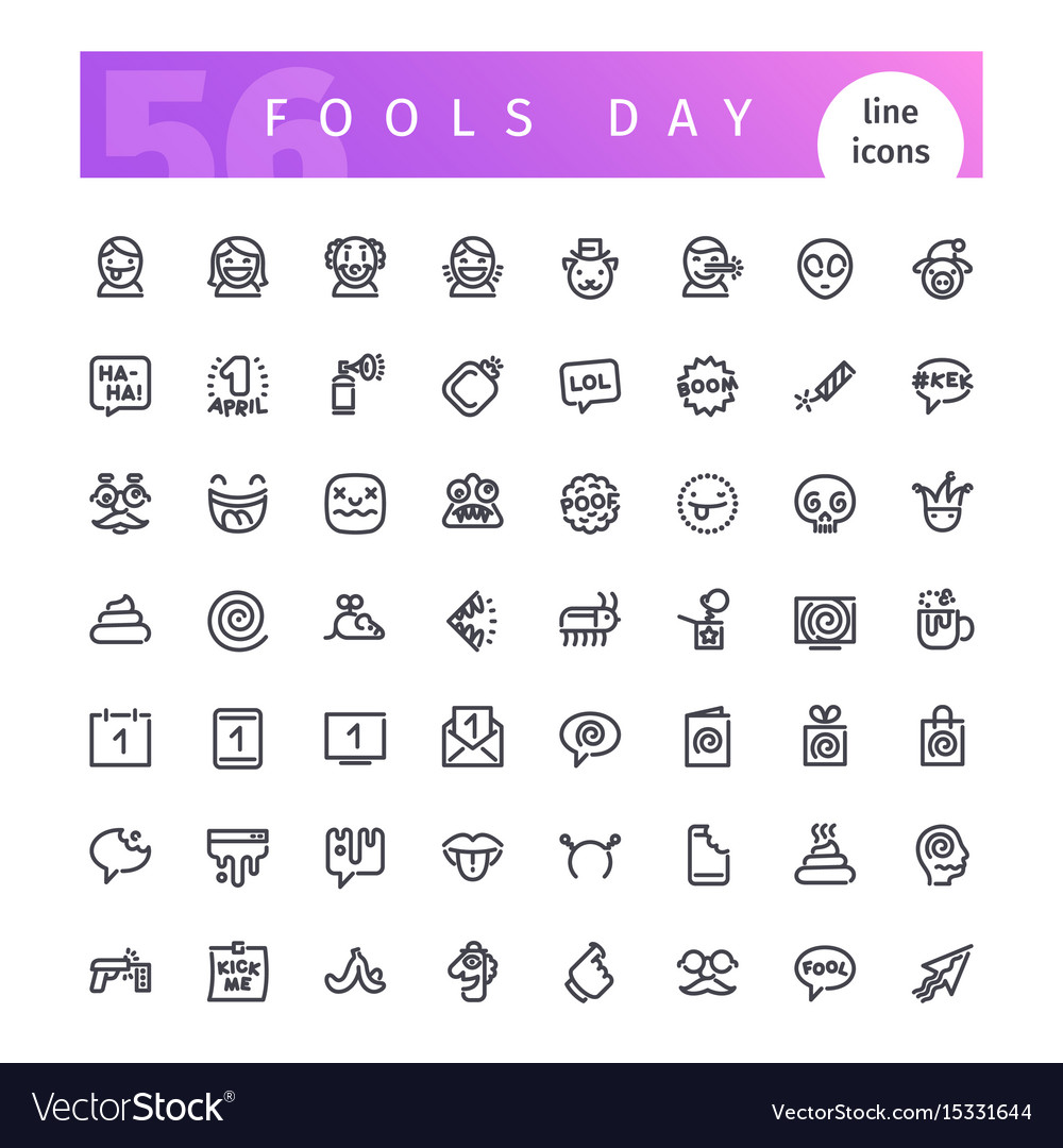 Fools day line icons set vector image