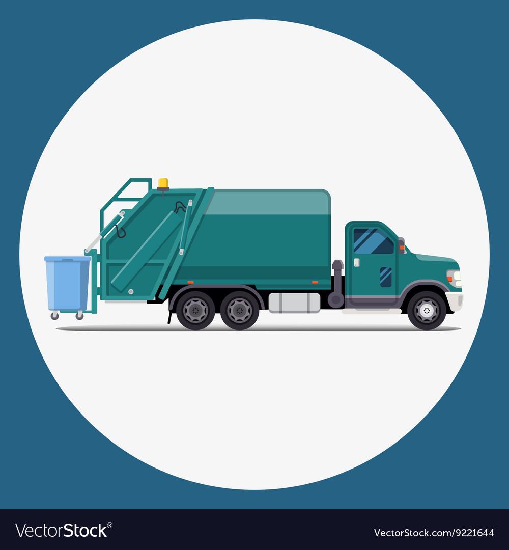 Garbage truck flat modern design