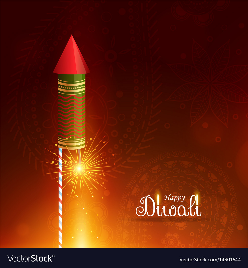 Happy diwali greeting background with flying