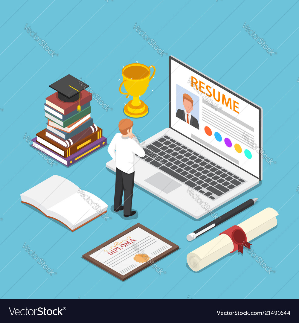 Isometric Businessman Writing Resume On His Laptop