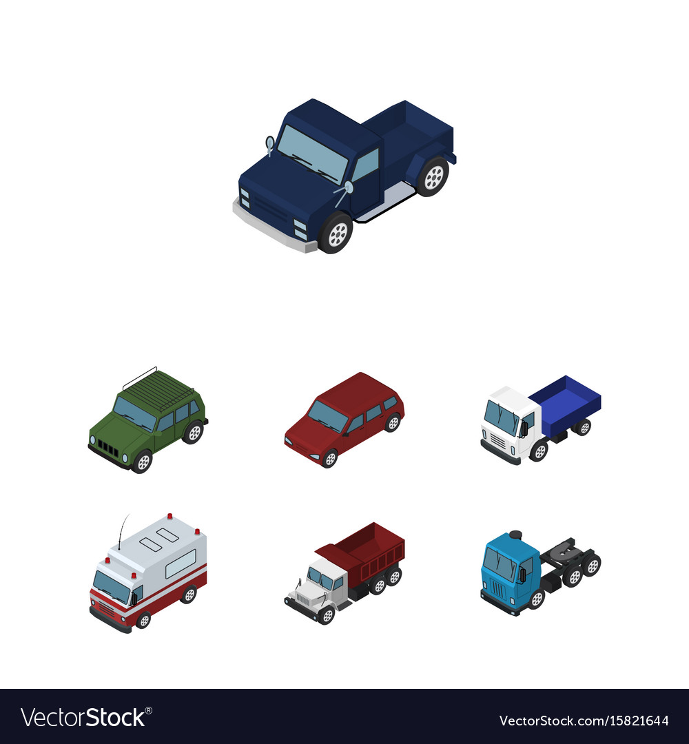 Isometric car set of truck first-aid suv and