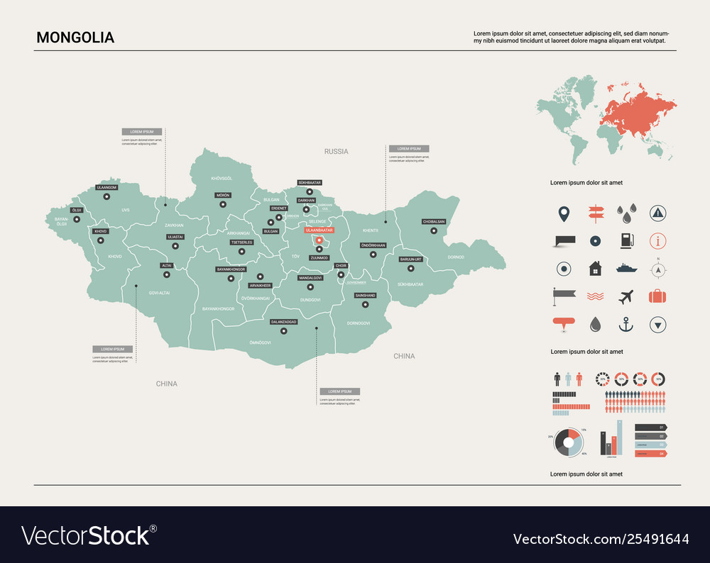 Map Mongolia Country Map With Division Cities