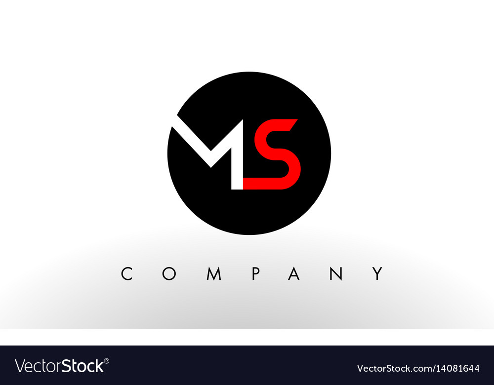 Ms logo letter design vector image