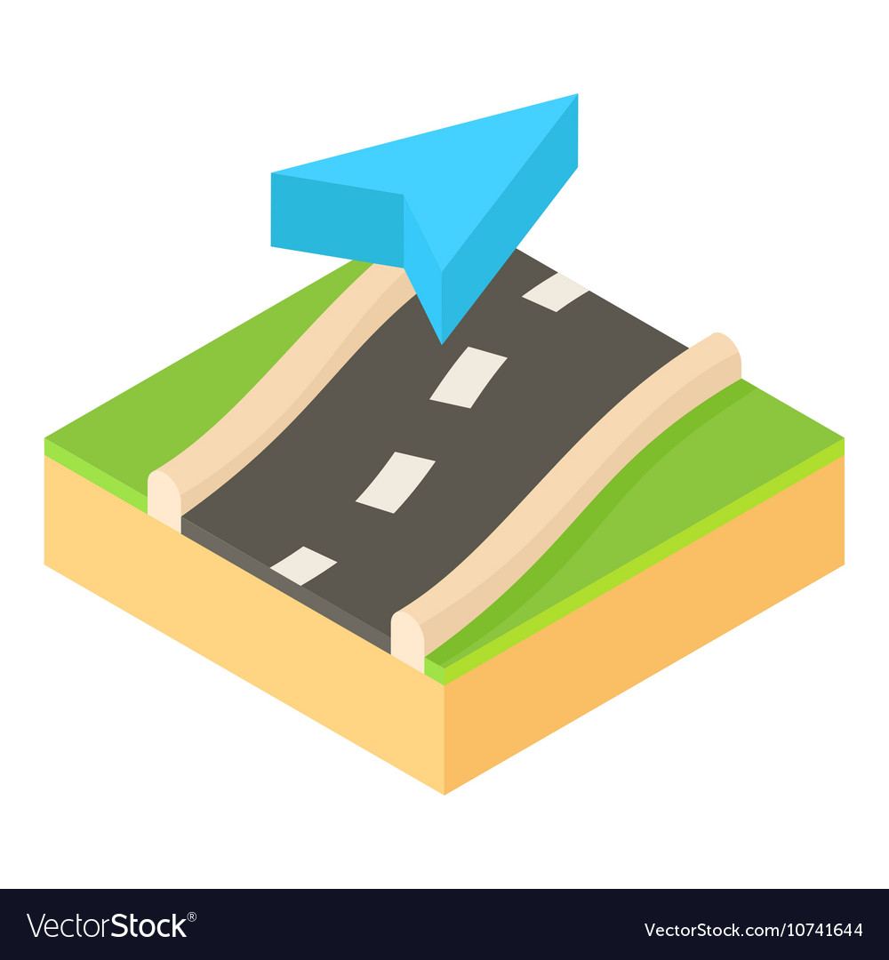 Pointer on road map icon cartoon style