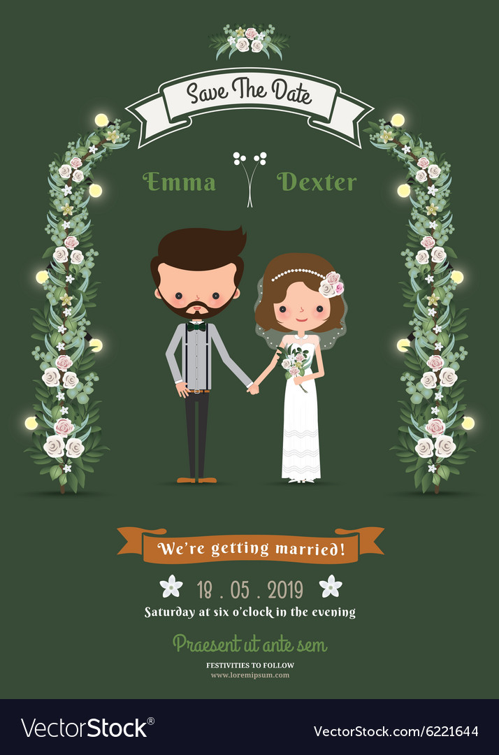 Rustic Hipster Cartoon Couple Wedding Card Vector Image
