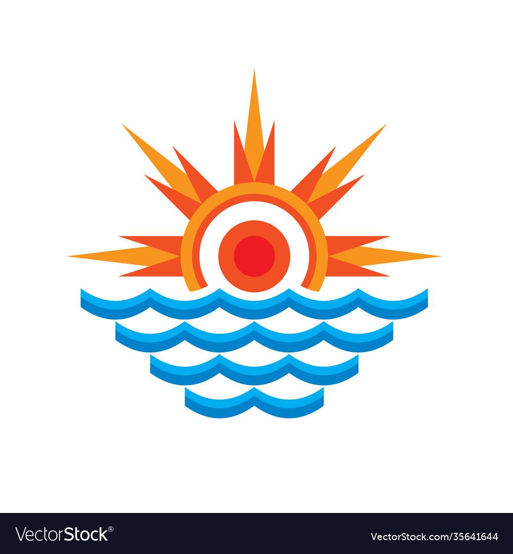 San and sea - logo template concept