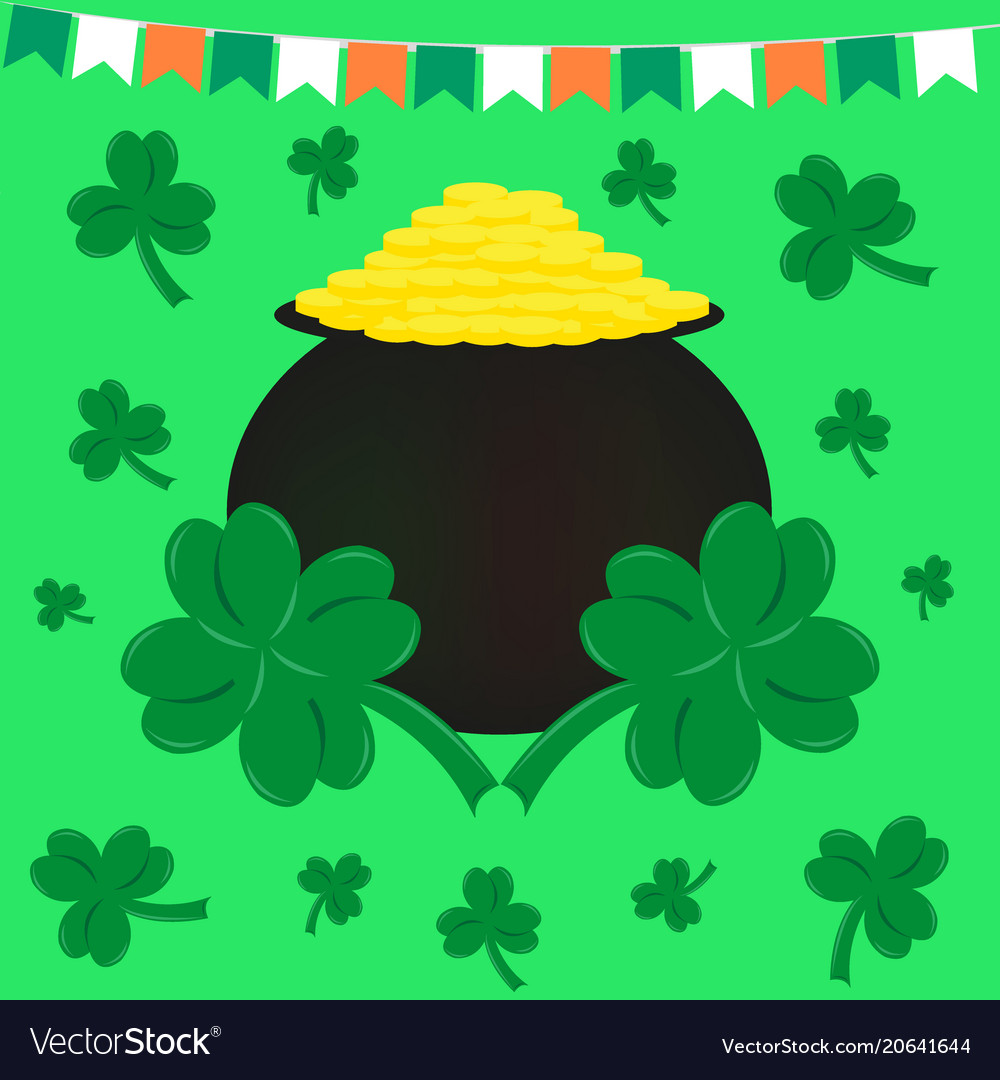 St patricks day flags pot of gold and clover