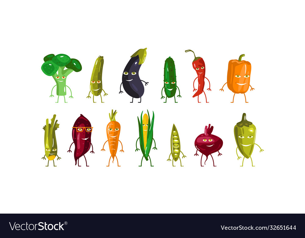 Stock set vegetables characters