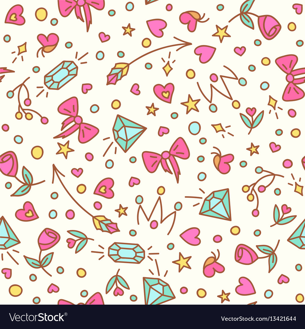 The roses and diamond seamless pattern