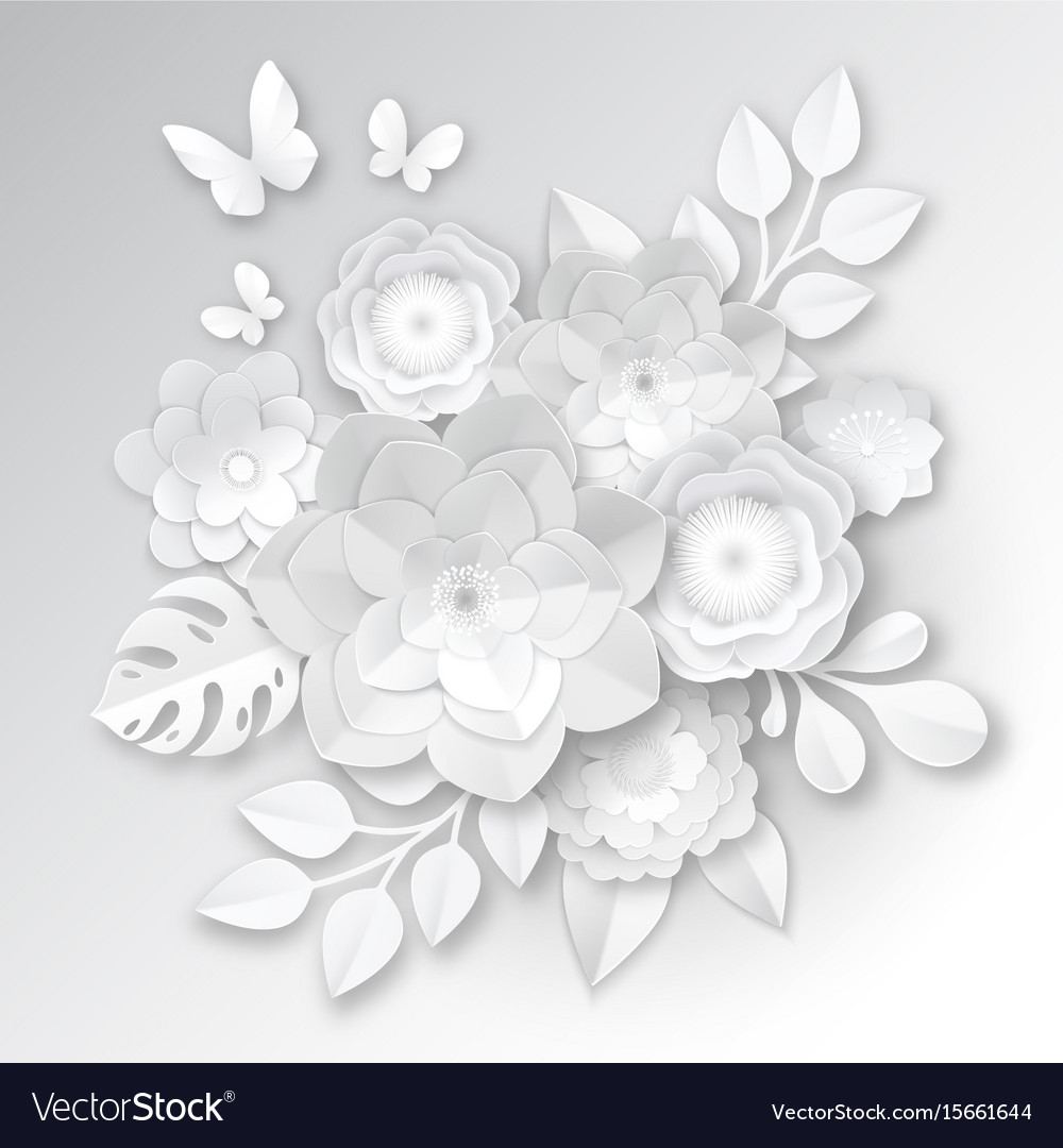 White Paper Flowers Composition Card Royalty Free Vector