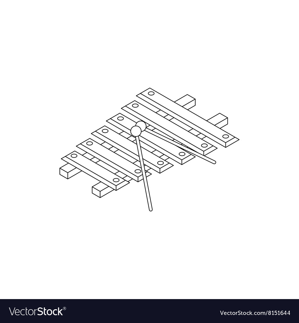 Xylophone Icon Isometric 3d Style Royalty Free Vector Image Notes Diagram