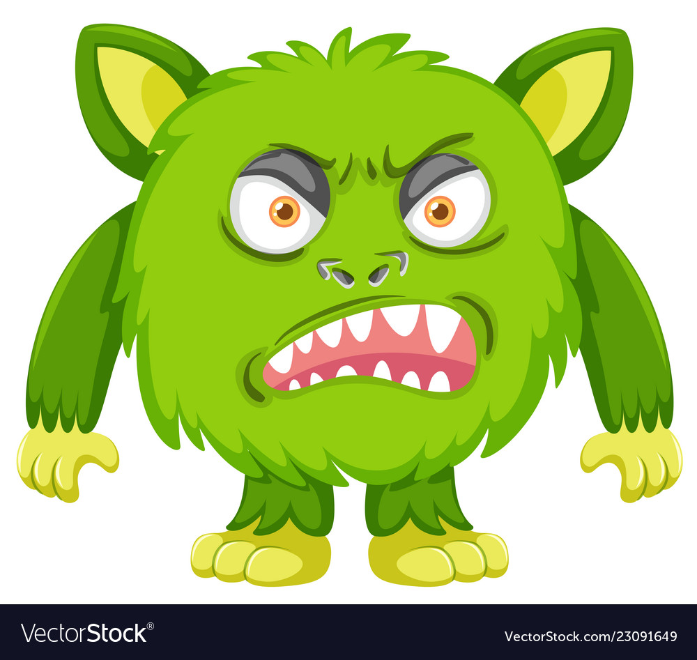 A green angry monster Royalty Free Vector Image