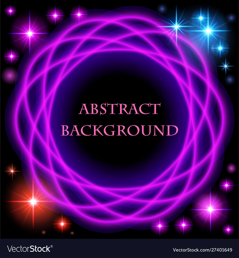 Abstract background with bright neon circle and