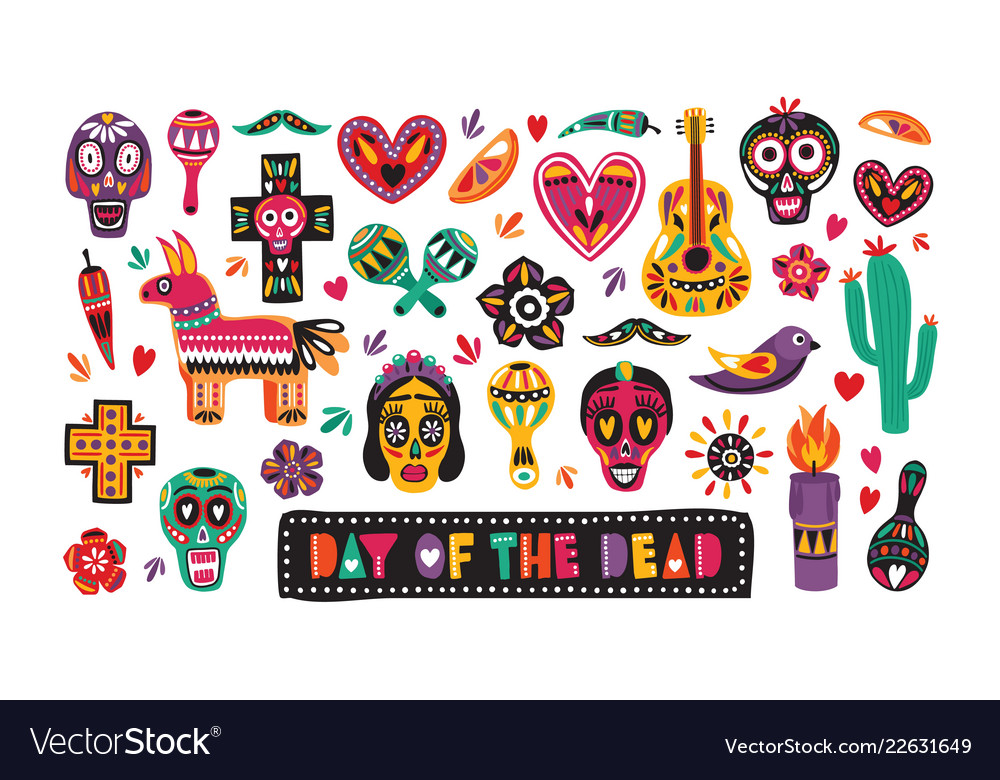 Bundle of traditional day of the dead decorations