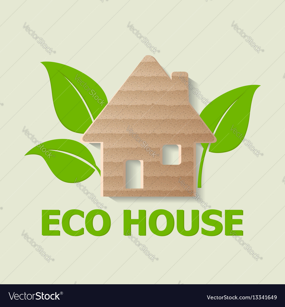Cardboard house and leaves vector image