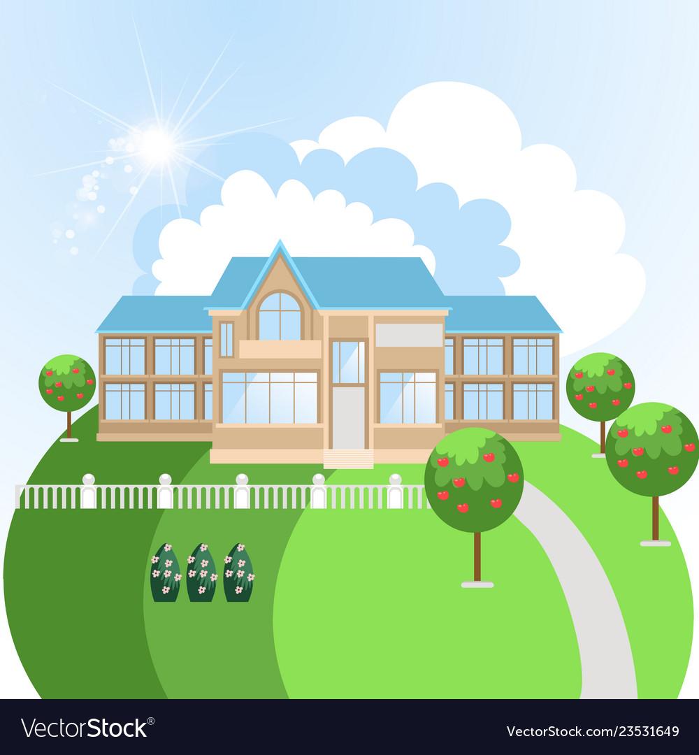 Cartoon nursing home building in nature for elder
