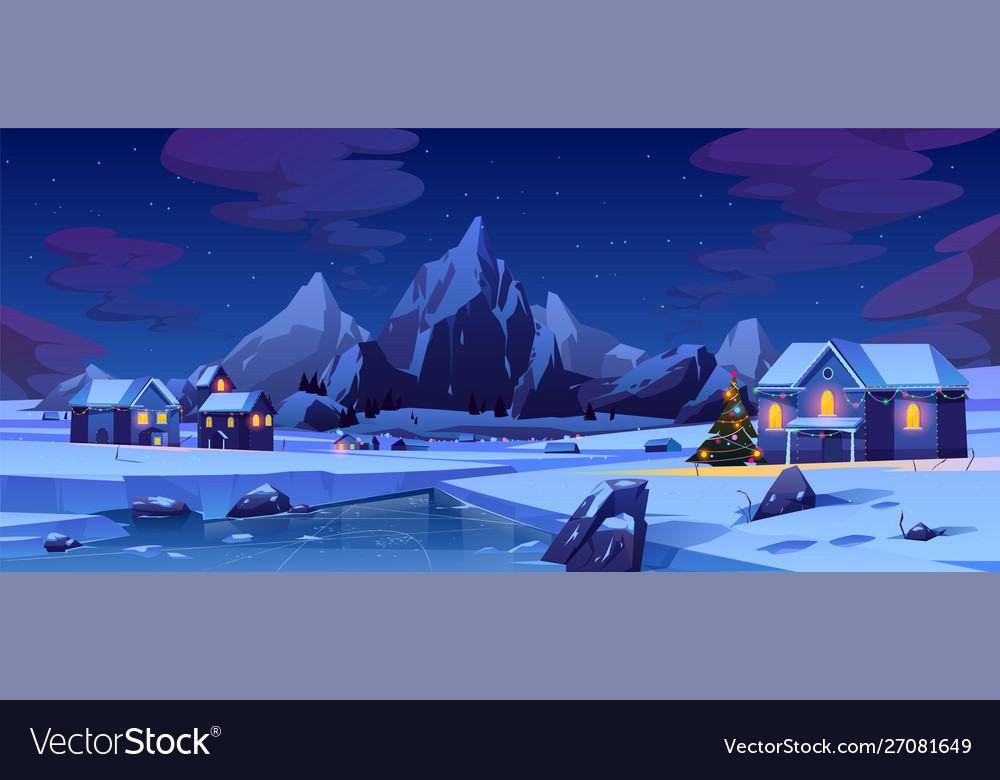 Christmas night in mountain city or canada xmas