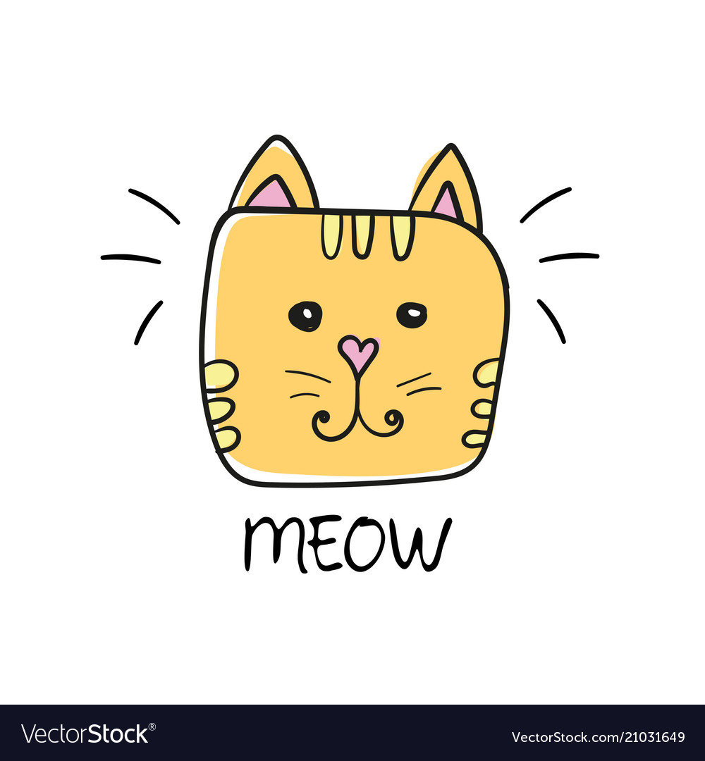 Cute cat face drawing and meow sign