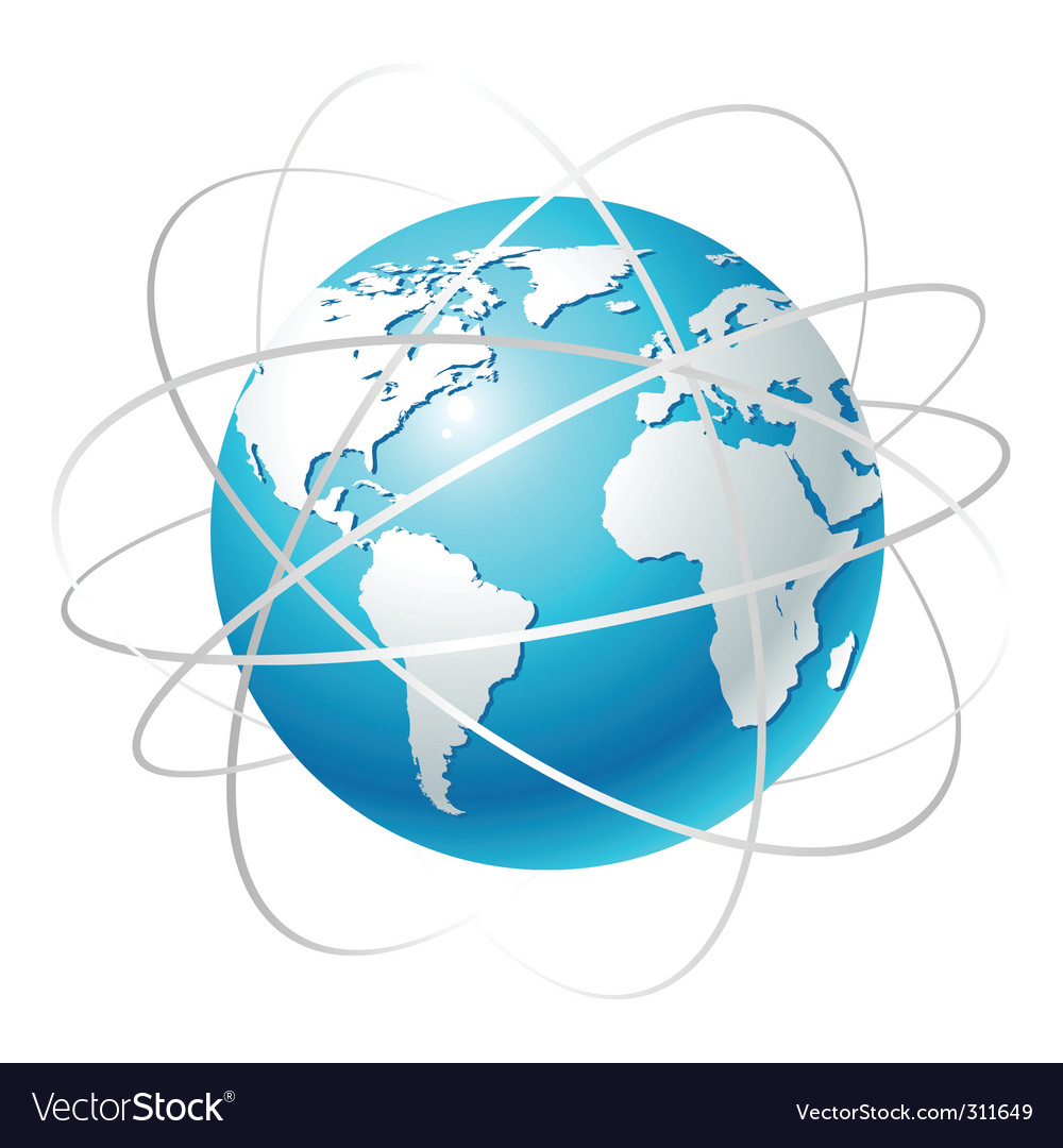 Globe with orbits vector image