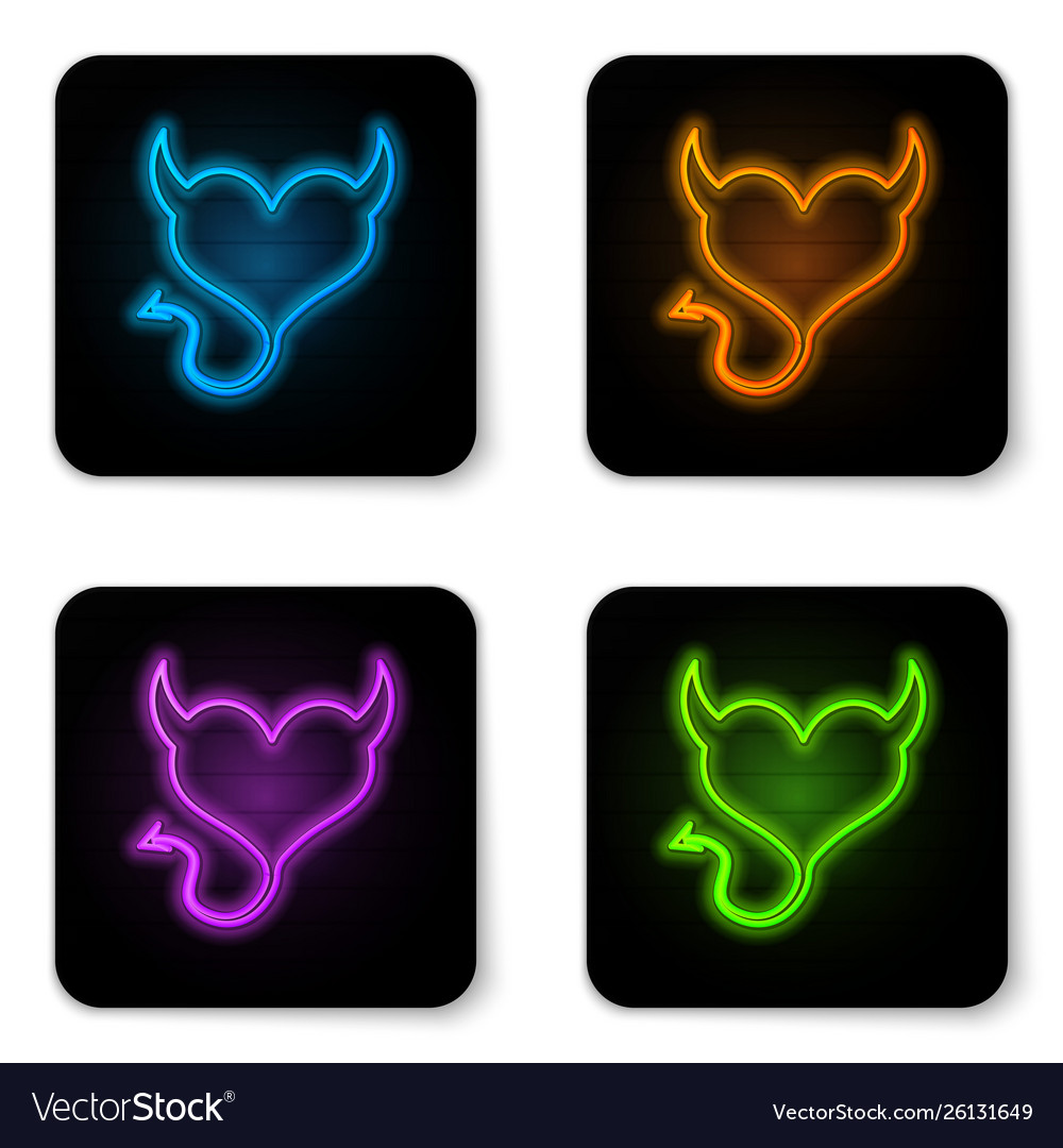 Glowing Neon Devil Heart With Horns And A Tail Vector Image
