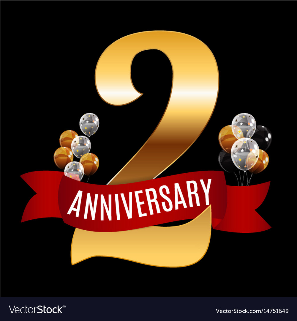 golden 2 years anniversary template with red vector image