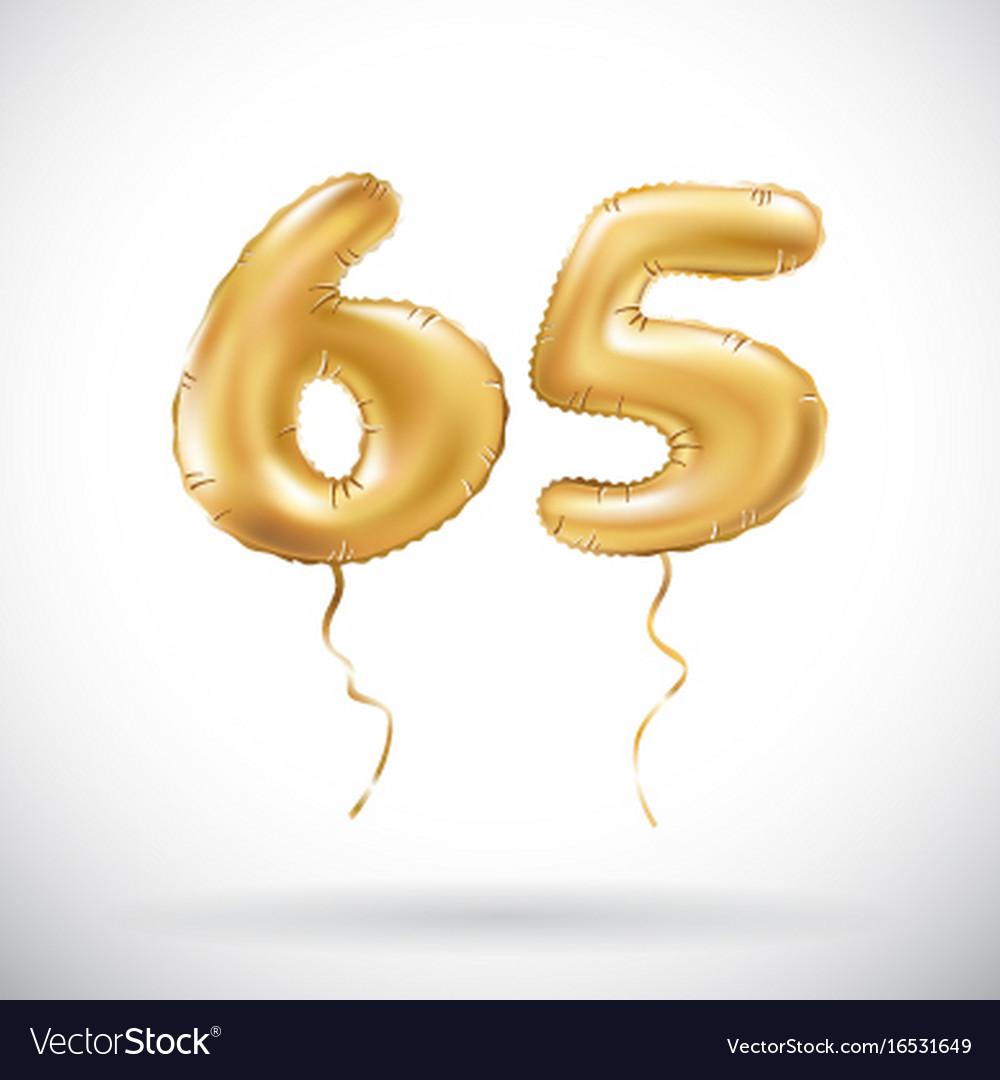 Golden number 65 sixty five metallic balloon