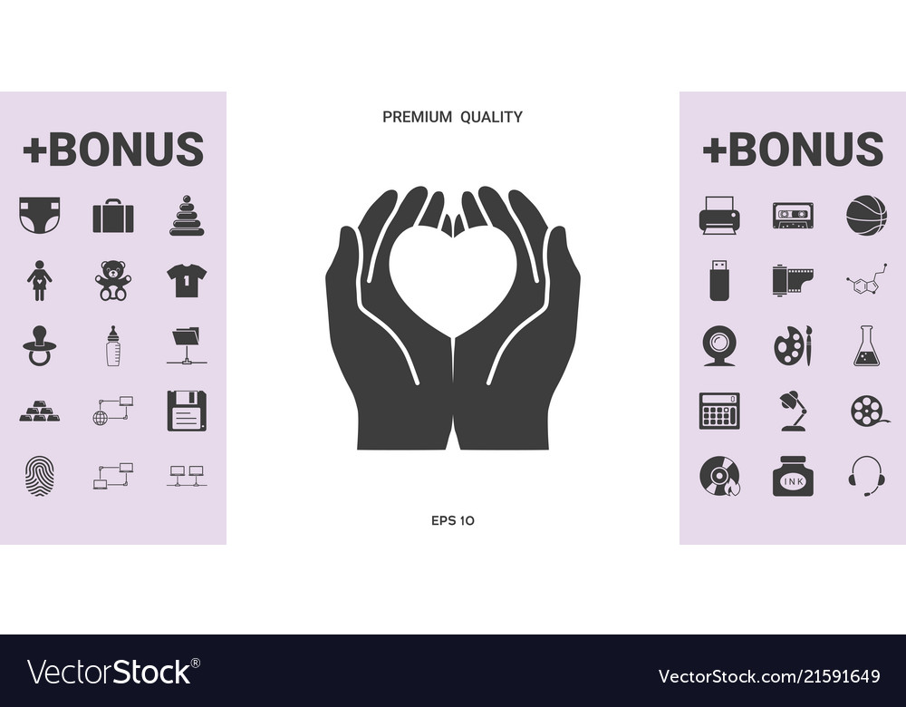 Hands holding heart - protection symbol - graphic